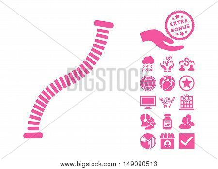Flexible Pipe pictograph with bonus symbols. Vector illustration style is flat iconic symbols pink color white background.