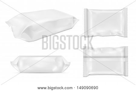 White blank foil food snack pack for chips candy and other products. Wet wipes packaging.