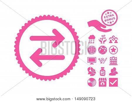 Flip Horizontal icon with bonus images. Vector illustration style is flat iconic symbols pink color white background.