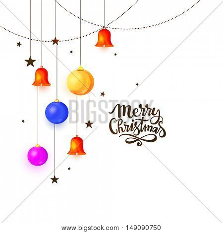 Merry Christmas celebration concept with colorful hanging balls, jingle bells and stars on white background.
