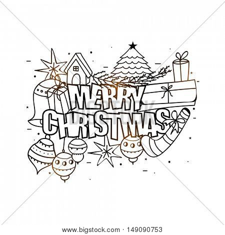 Black and white, Doodle style illustration for Merry Christmas celebration.
