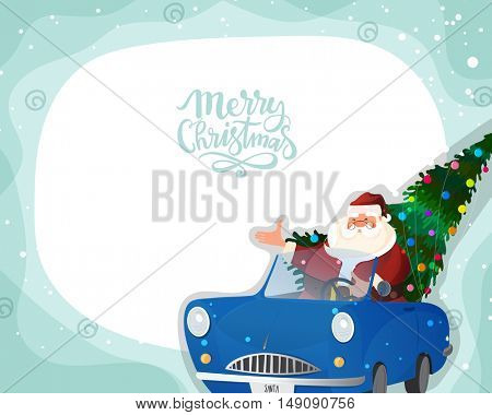 Santa Claus in blue car with big Xmas Tree for Merry Christmas celebration.