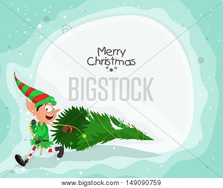 Funny elf with big Xmas Tree for Merry Christmas celebration.