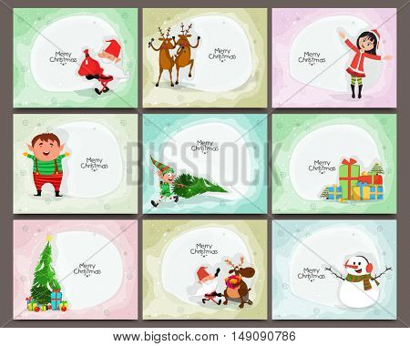 Set of cards with cute characters and elements for Merry Christmas celebration.