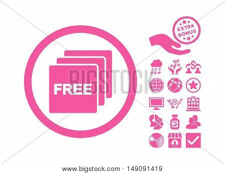 Free icon with bonus design elements. Vector illustration style is flat iconic symbols pink color white background.