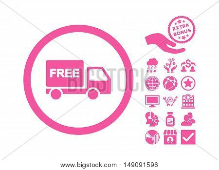 Free Delivery pictograph with bonus pictogram. Vector illustration style is flat iconic symbols pink color white background.