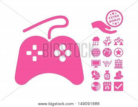 Gamepad icon with bonus elements. Vector illustration style is flat iconic symbols pink color white background.