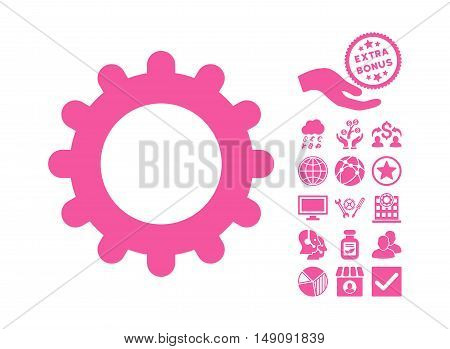 Gear pictograph with bonus images. Vector illustration style is flat iconic symbols pink color white background.