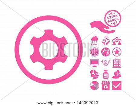 Gear pictograph with bonus clip art. Vector illustration style is flat iconic symbols pink color white background.