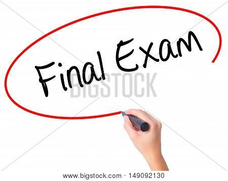 Women Hand Writing Final Exam With Black Marker On Visual Screen