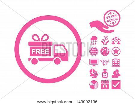 Gift Delivery icon with bonus symbols. Vector illustration style is flat iconic symbols pink color white background.