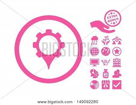 GPS Settings pictograph with bonus images. Vector illustration style is flat iconic symbols pink color white background.