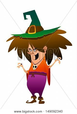 colorful character witch on a white background isolated