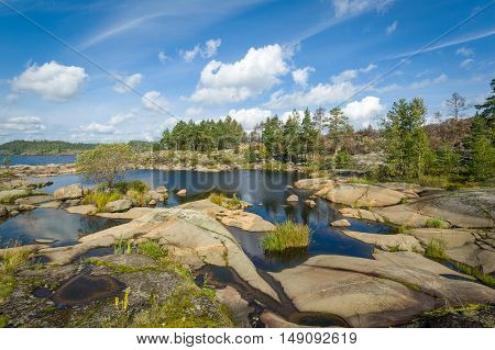 Typical view of Karelia republic nature. Small islands on Ladoga lake.