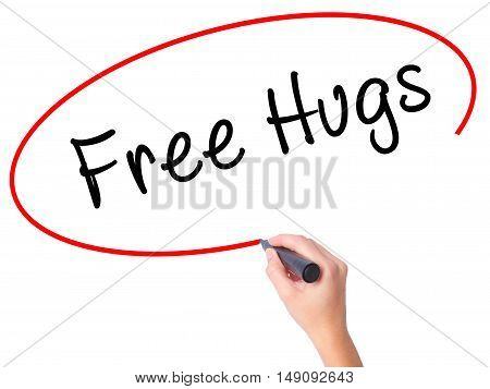 Women Hand Writing Free Hugs With Black Marker On Visual Screen