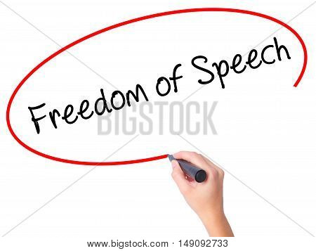Women Hand Writing Freedom Of Speech With Black Marker On Visual Screen