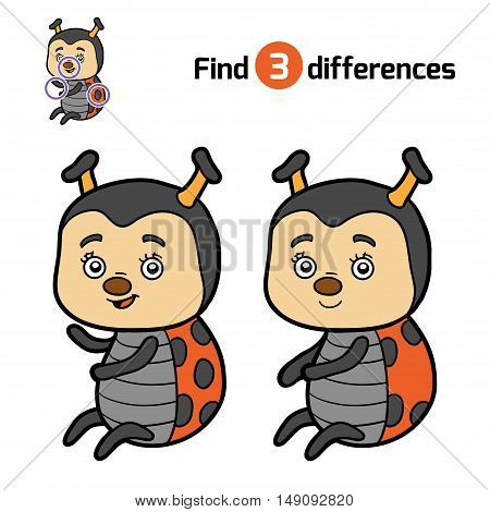 Find differences, education game for children, Ladybug