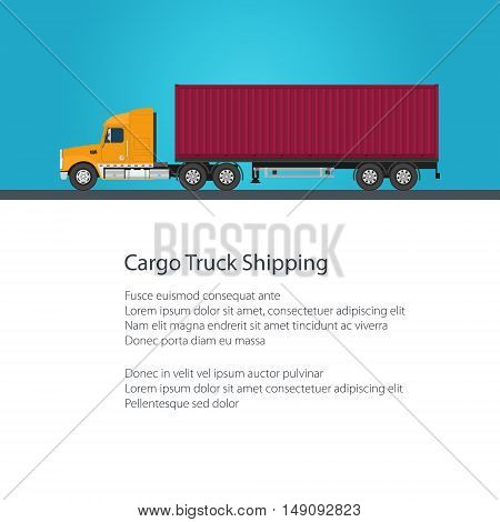 Cargo Delivery Truck Shipping and Freight of Goods, Truck with Cargo Container on Blue Background, Poster Brochure Flyer Design ,Vector Illustration