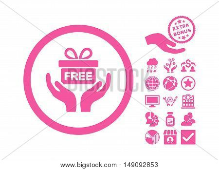 Give Present icon with bonus design elements. Vector illustration style is flat iconic symbols pink color white background.