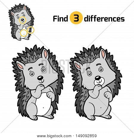 Find differences, education game for children, Hedgehog