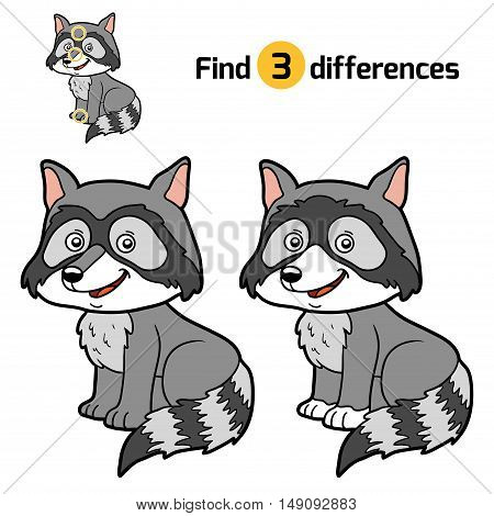 Find differences, education game for children, Raccoon
