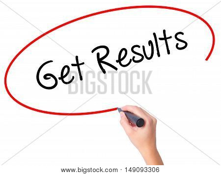 Women Hand Writing Get Results With Black Marker On Visual Screen