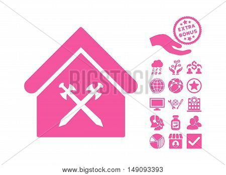 Guard Office icon with bonus design elements. Vector illustration style is flat iconic symbols pink color white background.
