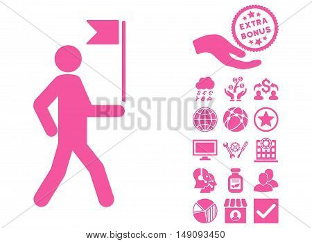 Guide Man With Flag pictograph with bonus clip art. Vector illustration style is flat iconic symbols pink color white background.