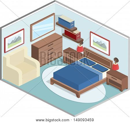 Modern design of cozy bedroom with furniture. Interior in isometric style in blue and brown colors. Vector 3D illustration.
