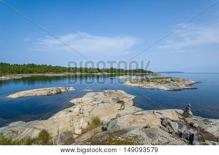 Ladoga lake and small stone islands landscape. Karelia republic, Russia.