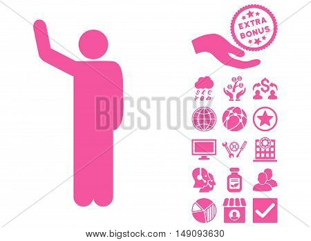 Hello Pose pictograph with bonus pictograph collection. Vector illustration style is flat iconic symbols pink color white background.
