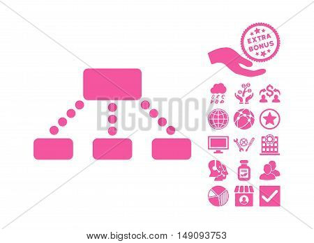 Hierarchy pictograph with bonus icon set. Vector illustration style is flat iconic symbols pink color white background.