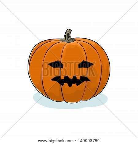 Carved Vicious Scary Halloween Pumpkin, a Jack-o-Lantern on White Background, Vector Illustration