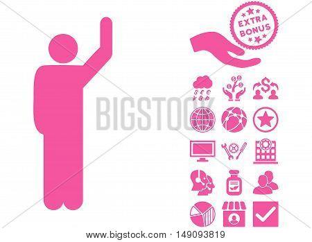Hitchhike Pose icon with bonus symbols. Vector illustration style is flat iconic symbols pink color white background.