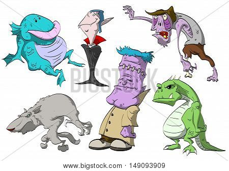 A set of vector colorful monster illustrations. Swamp creature vampire zombie warewolf reanimated corpse and a lizard man.
