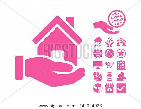 Home Offer pictograph with bonus clip art. Vector illustration style is flat iconic symbols pink color white background.