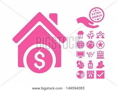 Home Price pictograph with bonus symbols. Vector illustration style is flat iconic symbols pink color white background.