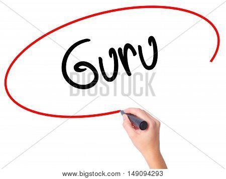 Women Hand Writing Guru With Black Marker On Visual Screen