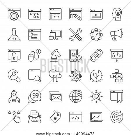 search engine optimization and web development icons set thin line black color