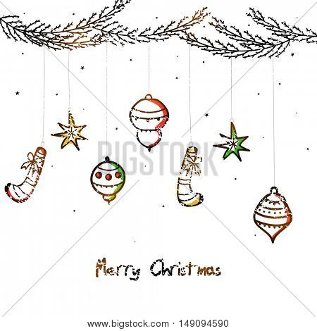 Hand drawn xmas ornaments on white background for Merry Christmas celebration.