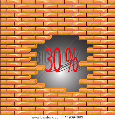 30 percent discount symbol icon on the brick wall, the collapse of prices, vector illustration