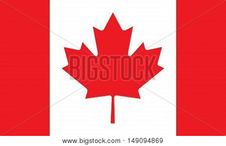 Canadian flag red white, maple leaf stylish vector illustration