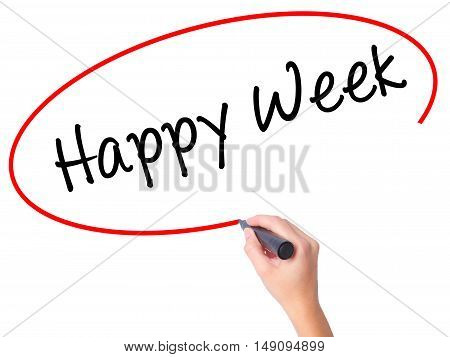 Women Hand Writing Happy Week With Black Marker On Visual Screen
