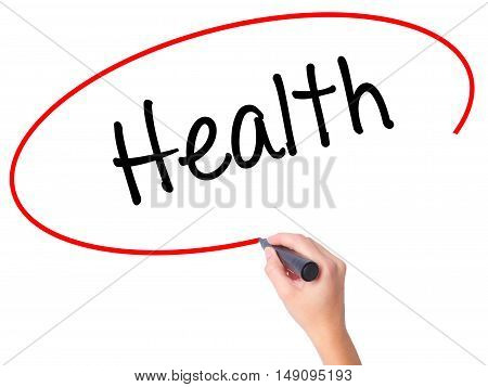 Women Hand Writing Health With Black Marker On Visual Screen