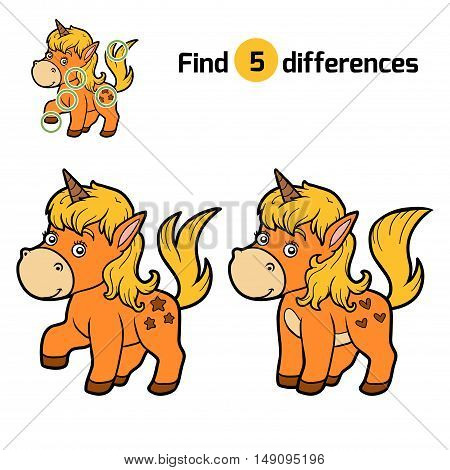 Find differences, education game for children, Unicorn