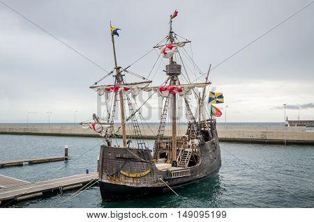 Santa Maria de Colombo historical ship replica at Funchal harbor. Madeira island, Portugal.