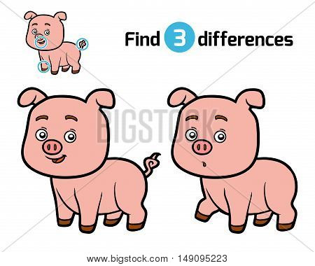 Find differences, education game for children, Pig