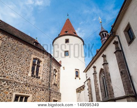 Great Tower with white facade and pointed roof on Krivoklat medieval Castle, Krivoklatsko, Central Bohemia, Czech Republic