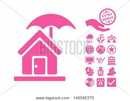 House under Umbrella pictograph with bonus design elements. Vector illustration style is flat iconic symbols pink color white background.