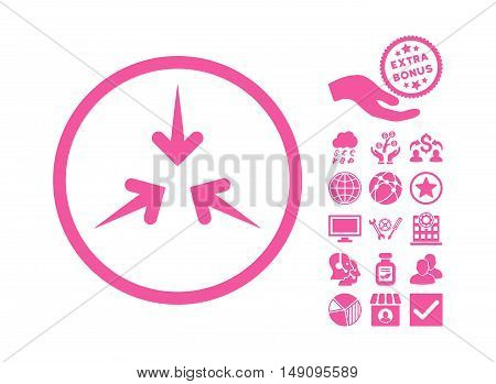 Impact Arrows pictograph with bonus elements. Vector illustration style is flat iconic symbols pink color white background.